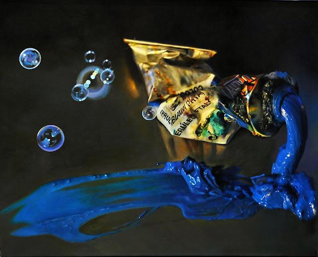 Tubo de óleo y pompas, pintura de Suso C. Ben