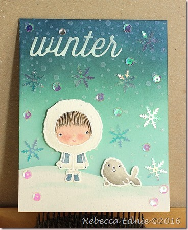 winter boy and seal card