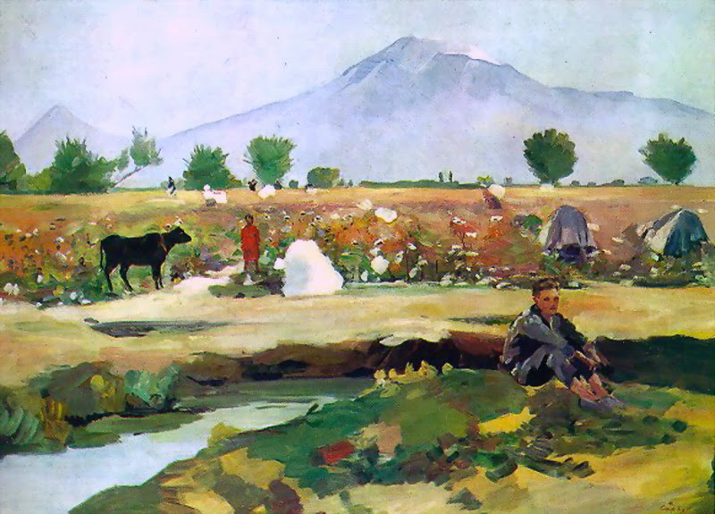 Martiros Saryan - Picking cotton in the Ararat valley, 1949