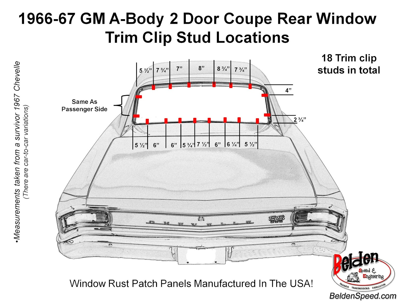 1966 1967 chevelle rear window trim clip stud location diagram