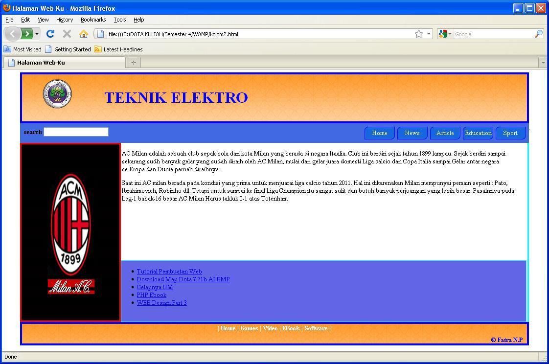 Membuat Tampilan depan Web Sederhana menggunakan CSS