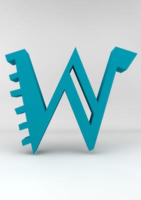 lettre 3D homme joker turquoise - W - images libres de droit