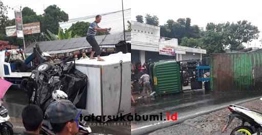 Mobil Boks vs Kontainer di jalan Raya Sukabumi - Bogor