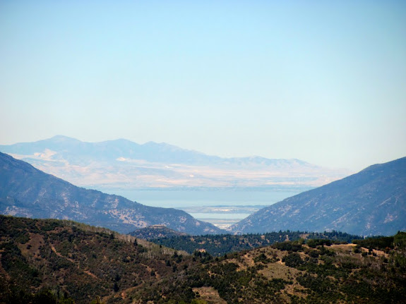 The notch in the center is Spanish Fork Canyon, and Utah Lake is visible behind it