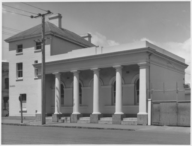 Former Department of Agriculture Offices, corner of George and William Streets, Launceston, showing single story wing, once the office of the Superintendent of the prisoners' barracks.