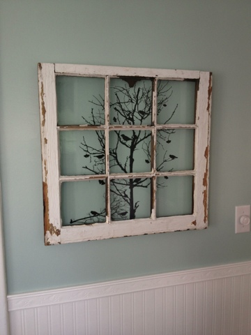 this is an old window that came out of our house i found the wall art at hobby lobby i cleaned the window with a scrub brush and reinforced the windows