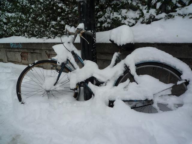 Bicicleta con nieve en Bologna