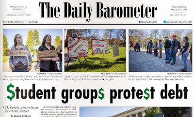OSU student debt protests, Barometer Mar. 3, 2015, p. 1