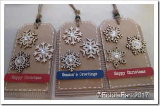 Wooden Snowflake Tags with clear flat back gems