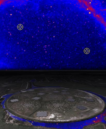 porção do céu em raios gama e localização do LOFAR