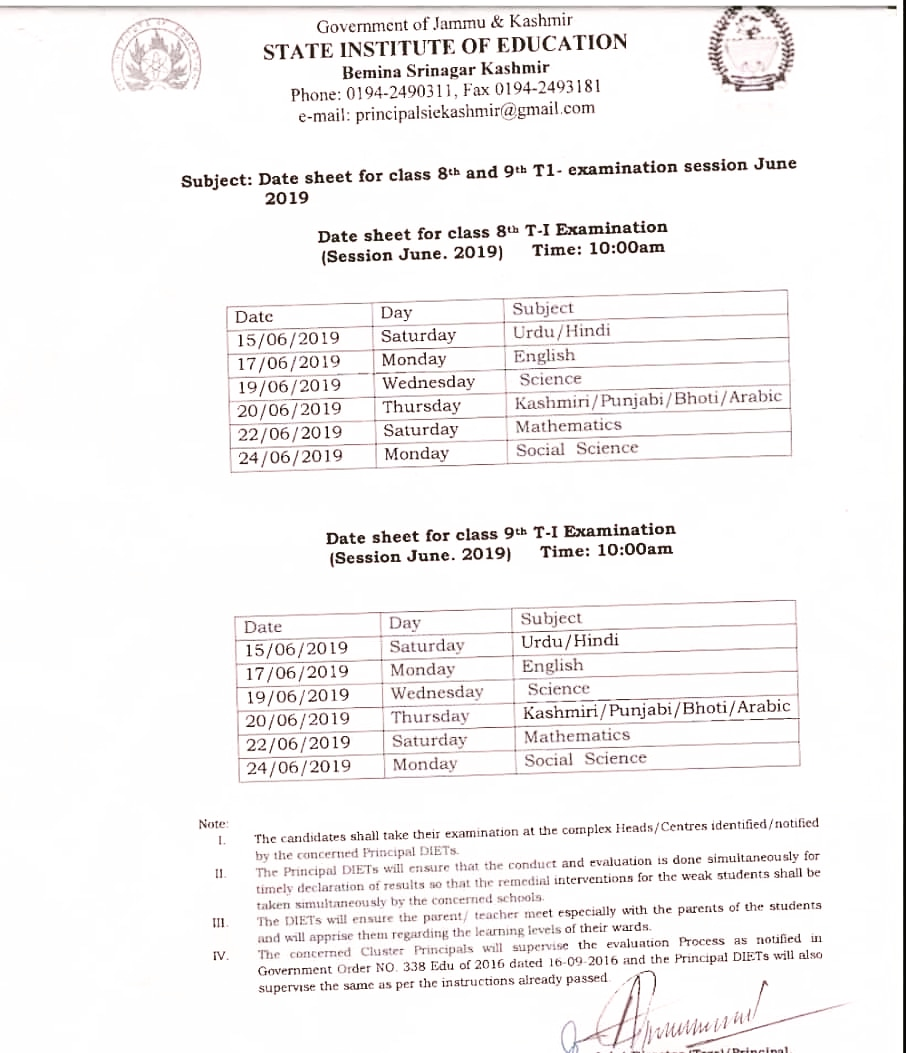 State Institute of Education, Srinagar | Date Sheet for 8th and 9th