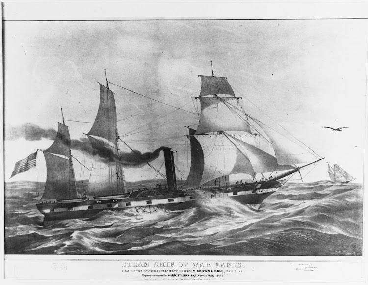El vapor CONGRESO, inicialmente AGUILA, pintado por John Endicott en 1841. De la web Naval History and Heritage Command.tiff