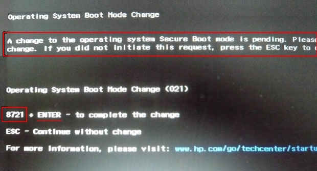 HP Secure Boot Disable