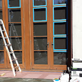 Protecting glass against damage with 3M Blue Painter's Tape and Jasco Liquid Masking