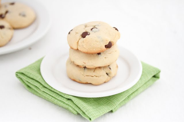 photo of three cookies stacked on a plate