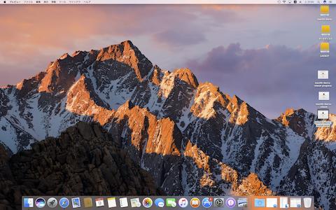 デスクトップの背景写真はシエラ・ネバダの山です