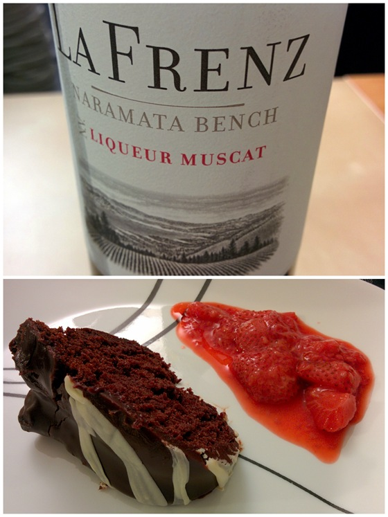 La Frenz Liqueur Muscat with Chocolate Bundt Cake & Strawberry Compote