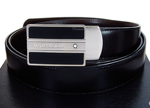 bd4cc2dc7bc23 The Mont Blanc belt on top has been spotted. This model gives better  branding than many of the Mont Blanc buckles