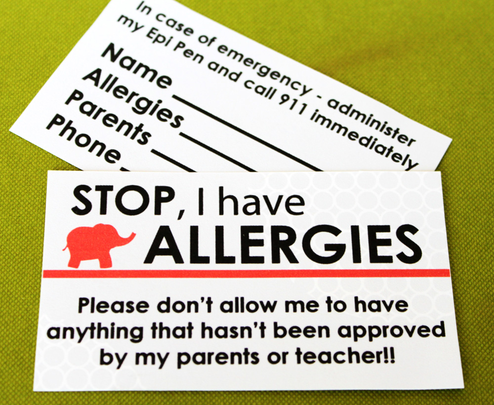 Paper and Pigtails Allergy Information Card