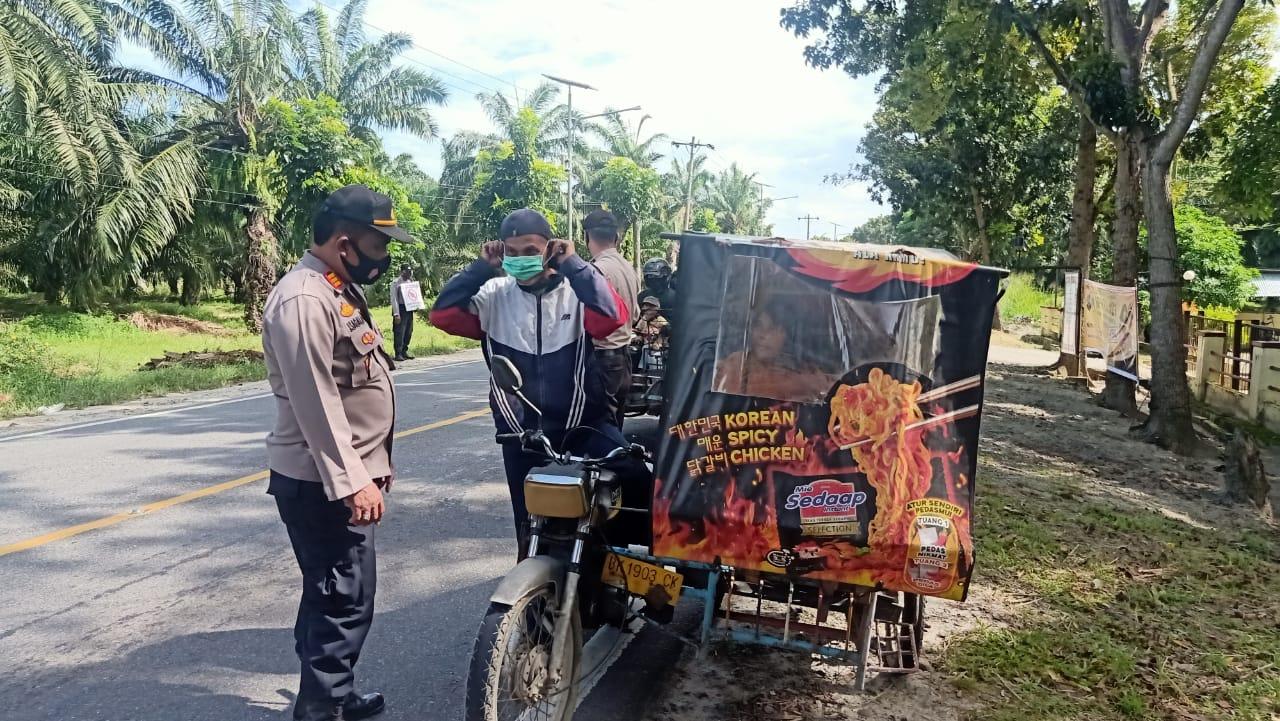Operasi Yustisi, Polsek Teluk Mengkudu Himbau Masyarakat Patuhi Prokes