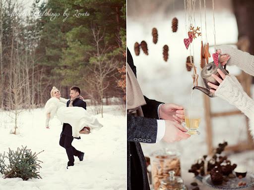 Зимняя свадебная фотосессия
