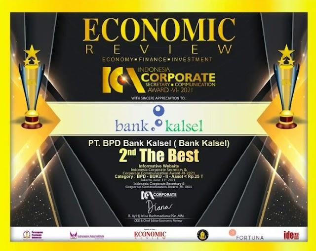 Bank Kalsel Raih Penghargaan di Ajang ICCA 2021