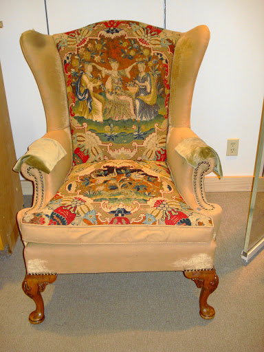 Georgian Wing Back arm chair with embroidered back and seat, velvet upholstery . photo taken with permission of the Brant Museum and Archive for use in fibreQUARTERLY postings
