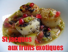 recette des saint jacques aux fruits exotiques