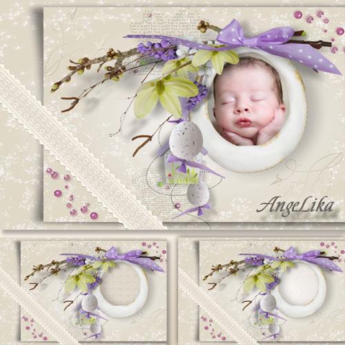 Детская рамка с цветами, кружевом и бантом - Мой малыш