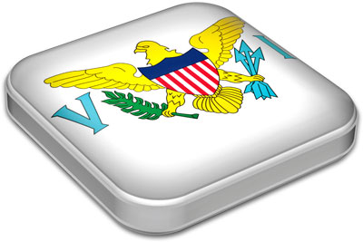 Flag of Virgin Islands with metallic square frame