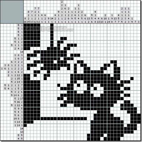 siluetas gatos punto de cruz monocromo  (25)