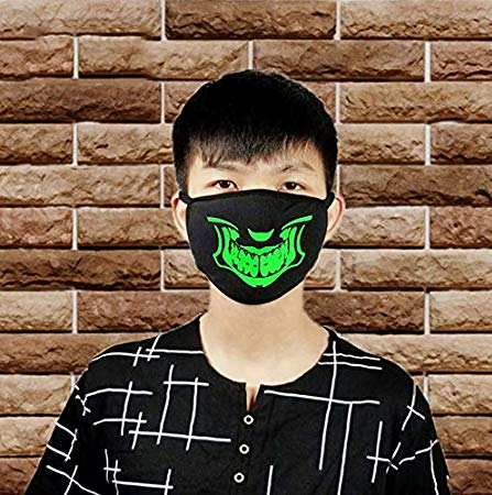 Cool Luminous Mouth Mask, Half Face Breathable and Washable Mask Funny Print Cotton Anti-Dust Unisex Face Mouth Mask for Adults