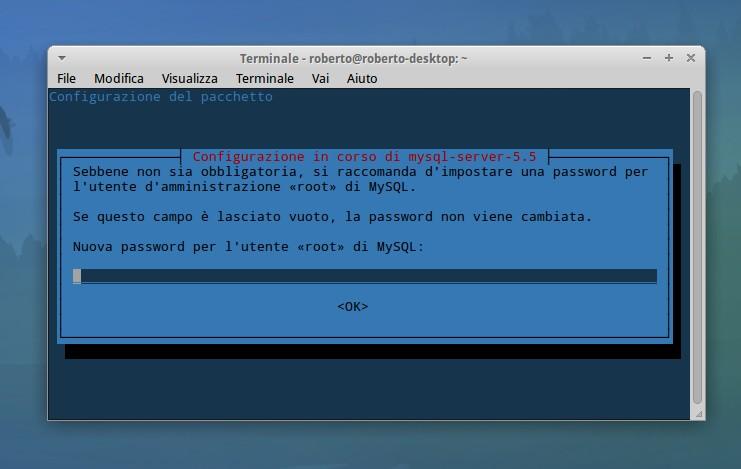 inserire la password per amministrare MySQL
