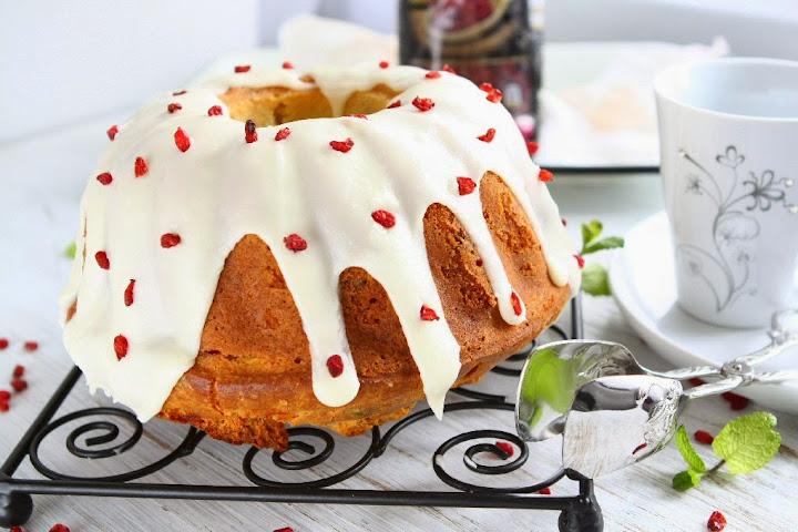 Cherry Pistachio Spelt Bundt Cake