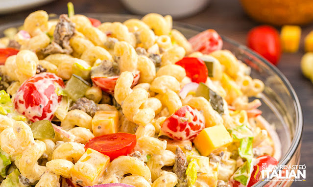 pasta salad recipe with sauce on top