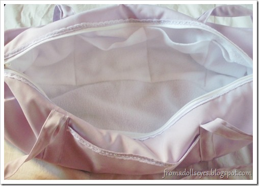 Inside View of Lacey Purple Doll Carry Bag