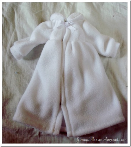 White Fleece Dress Coat for Ball Jointed Dolls