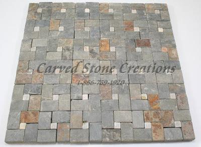 12x12 Golden Multicolor Slate Pinwheel Mosaic