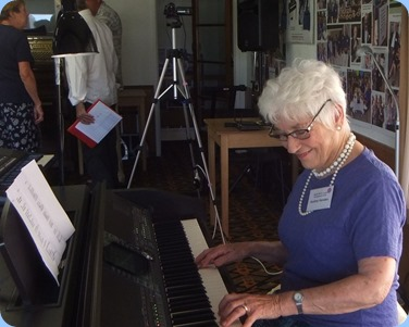 Audrey Henden playing the Club's Clavinova CVP-509. Audrey played the arrival music and then a 15 minute perfomance in the main body of the evening. Photo courtesy of Dennis Lyons.