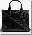 Kurt Geiger Croc Embossed Leather Bag with Long Strap