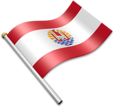The French Polynesian  flag on a flagpole clipart image