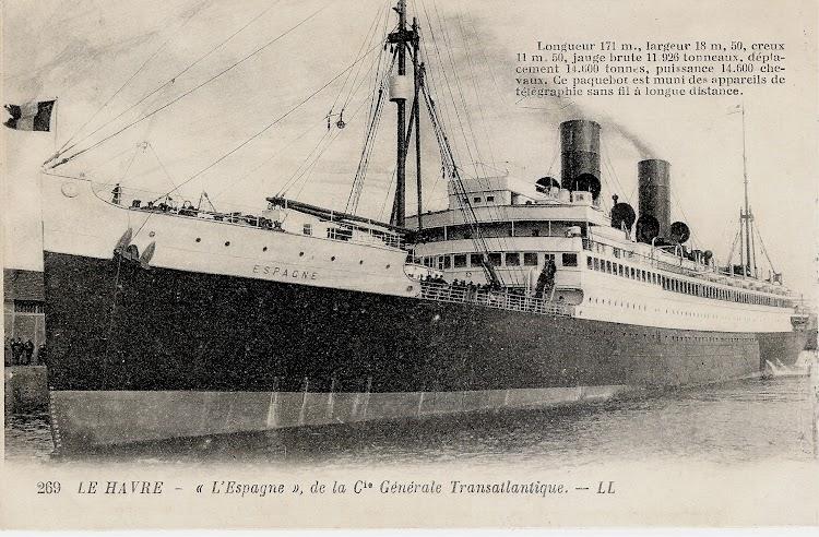 12- Le Havre. Fecha indeterminada. El ESPAGNE atracado. Colección Jaume Cifre. Nuestro agradecimiento.jpg