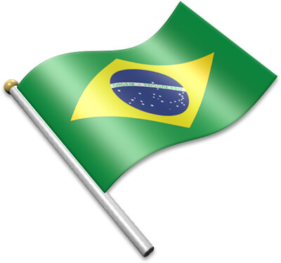 The Brazilian flag on a flagpole clipart image