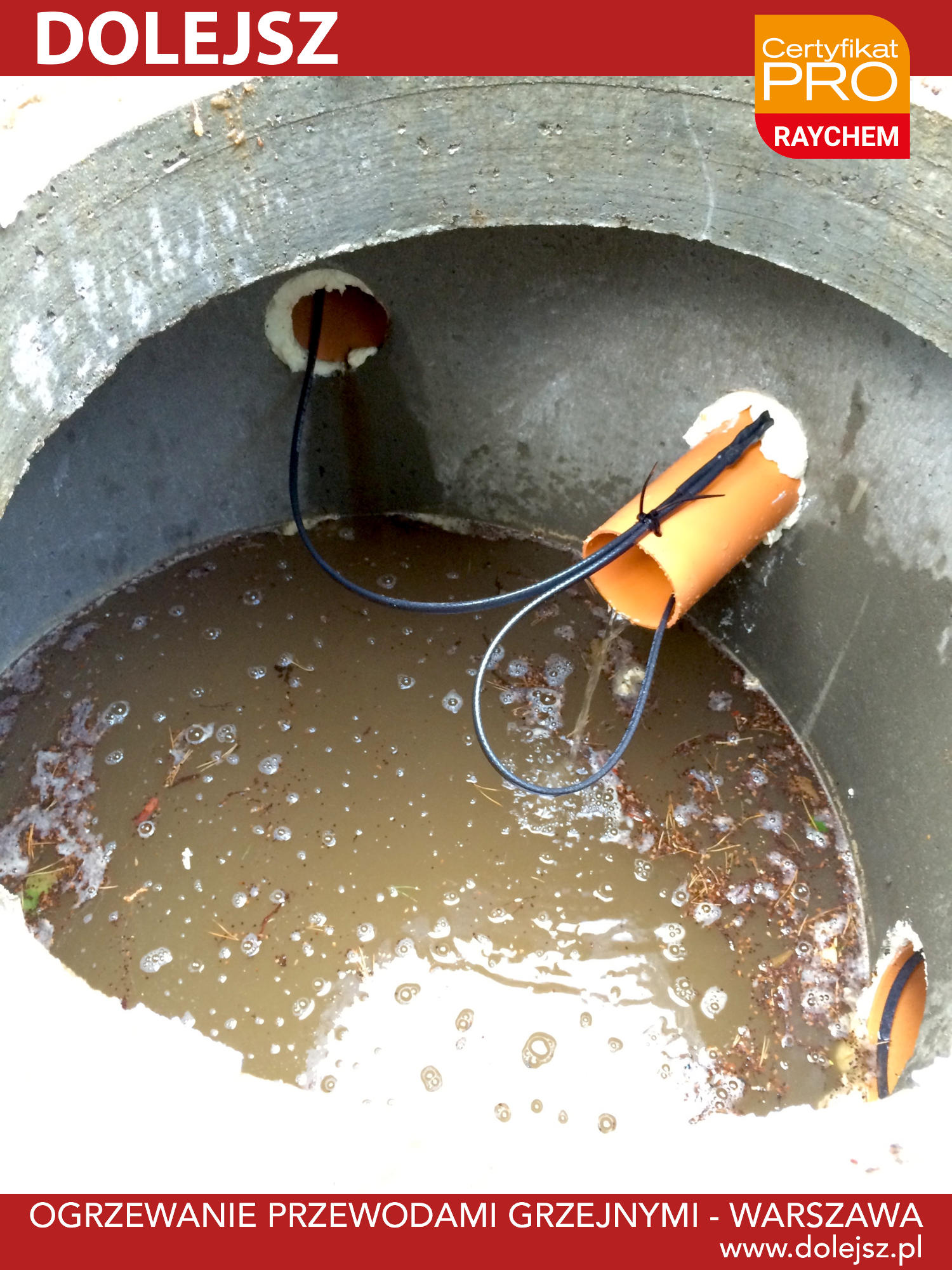 Zamarznięta rura kanalizacyjna szambo