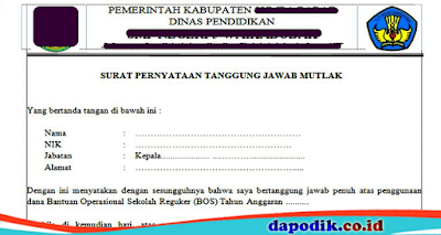 Format Surat Pertanggung Jawaban Mutlak (SPTJM) Kepala Sekolah