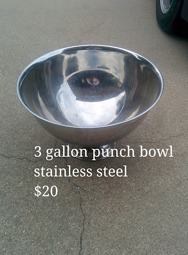 Stainless Steel 3 Gallon Punch Bowl