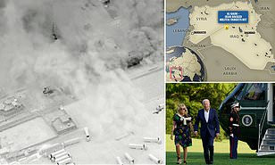 ultiple rockets hit US base in Syria less than 24 hours after Biden launched midnight airstrikes in Iraq-Syrian border killing 7 militants