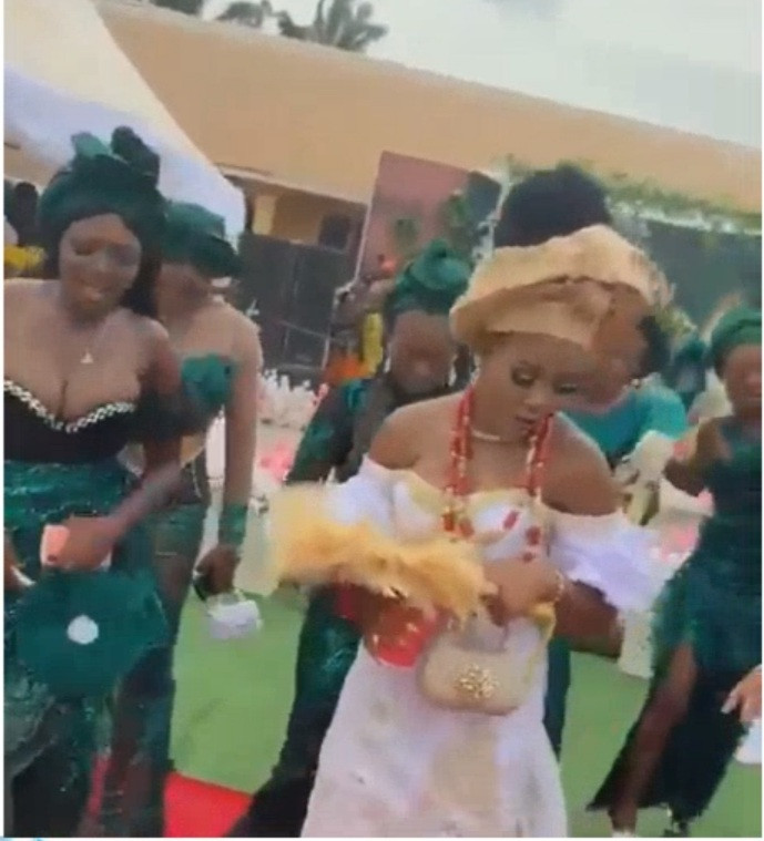 Bridesmaid's breast takes centre stage, causing guest to spray money on her instead of on bride (video)