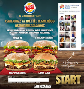 Facebook alkalmazás grafikai tervezése a Burger King-nek.