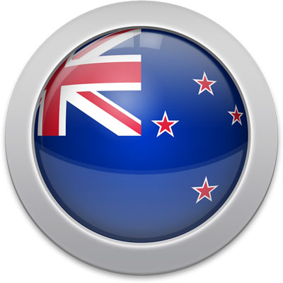 New Zealand flag icon with a silver frame